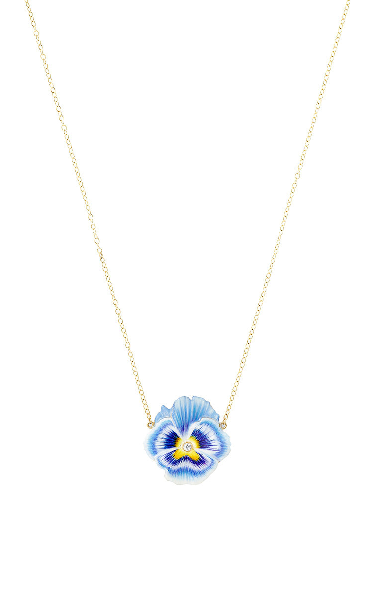Alison Lou Pansy Necklace In Blue Lyst