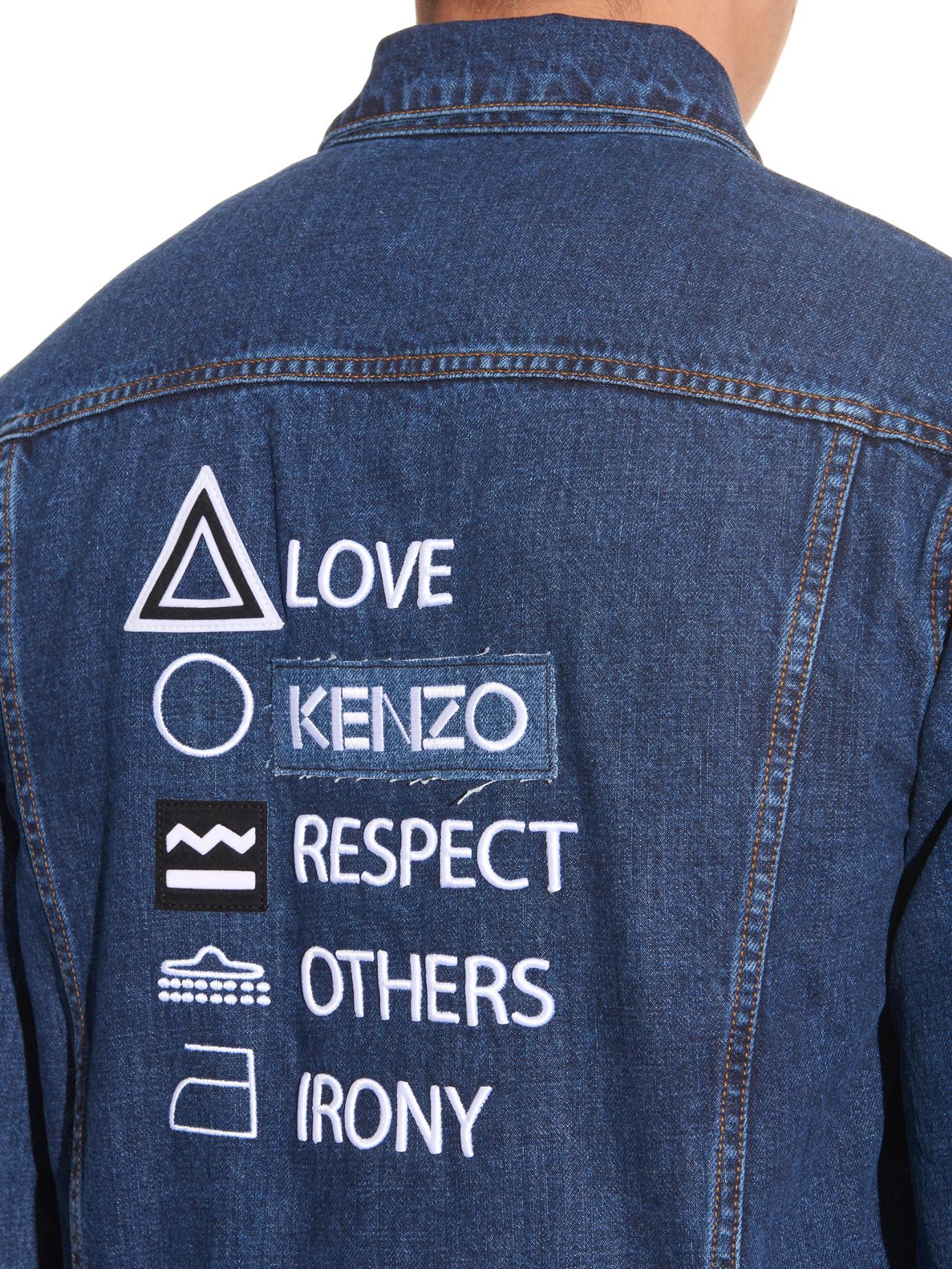 KENZO Embroidered-back Denim Jacket in Blue for Men