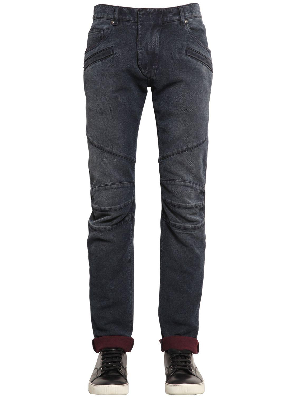 balmain biker cotton denim jeans in blue for men blue wine save 31 lyst. Black Bedroom Furniture Sets. Home Design Ideas