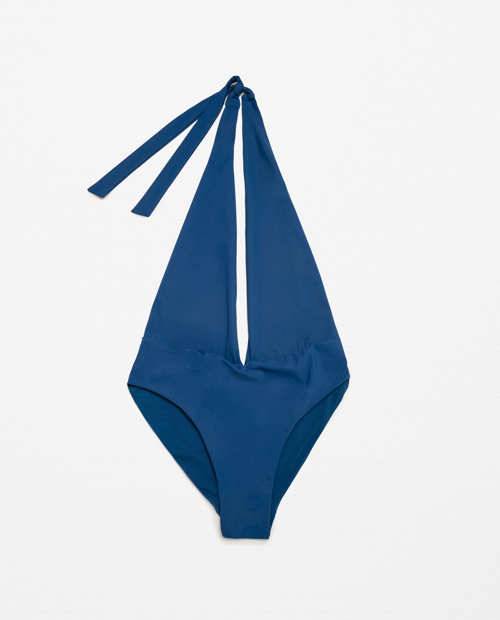 Zara Halter Neck Swimsuit in Blue   Lyst