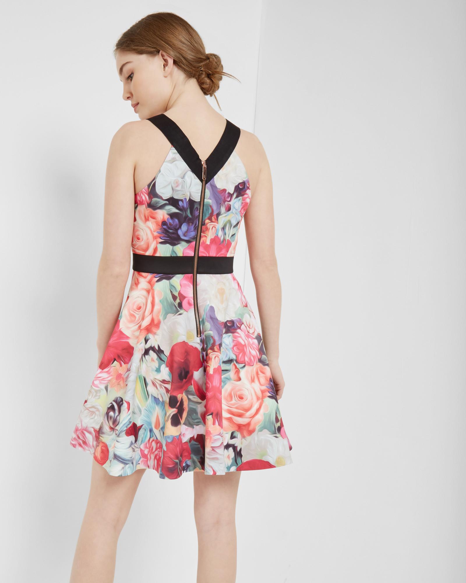 77b93964d096d4 Lyst - Ted Baker Floral Swirl Skater Dress in White