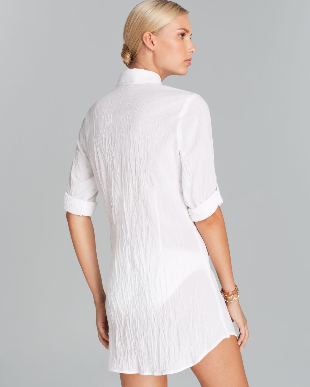 cd2c107e3d Tommy Bahama - White Crinkle Cotton Boyfriend Tie Shirt Swim Cover Up - Lyst