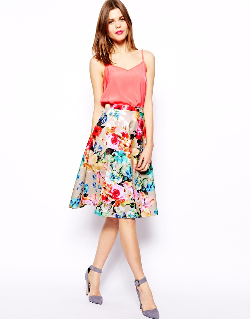 Asos Scuba Midi Skirt In Neon Floral | Lyst
