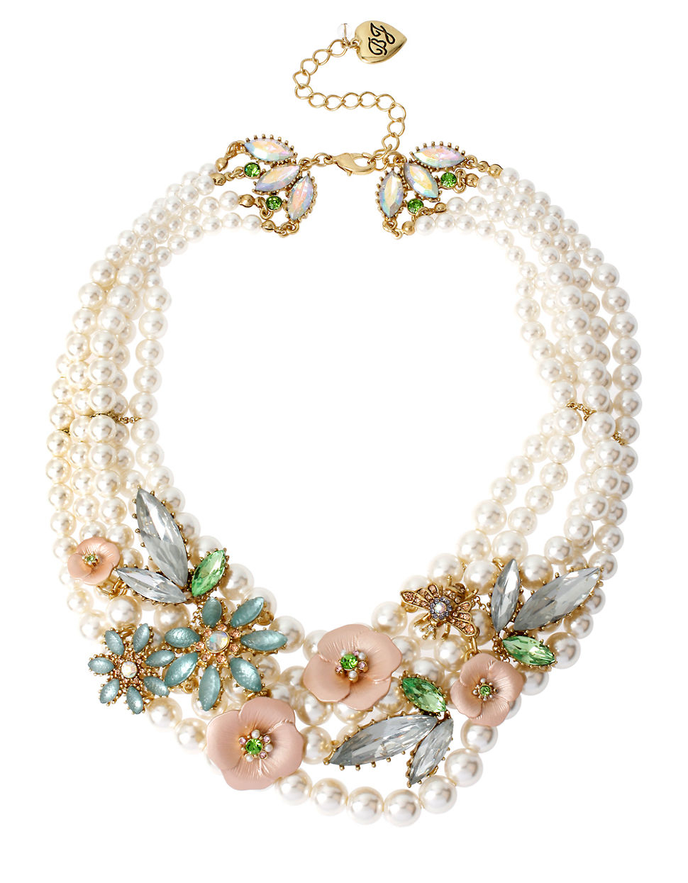 Betsey Johnson Queen Bee Flower And Faux Pearl Necklace In