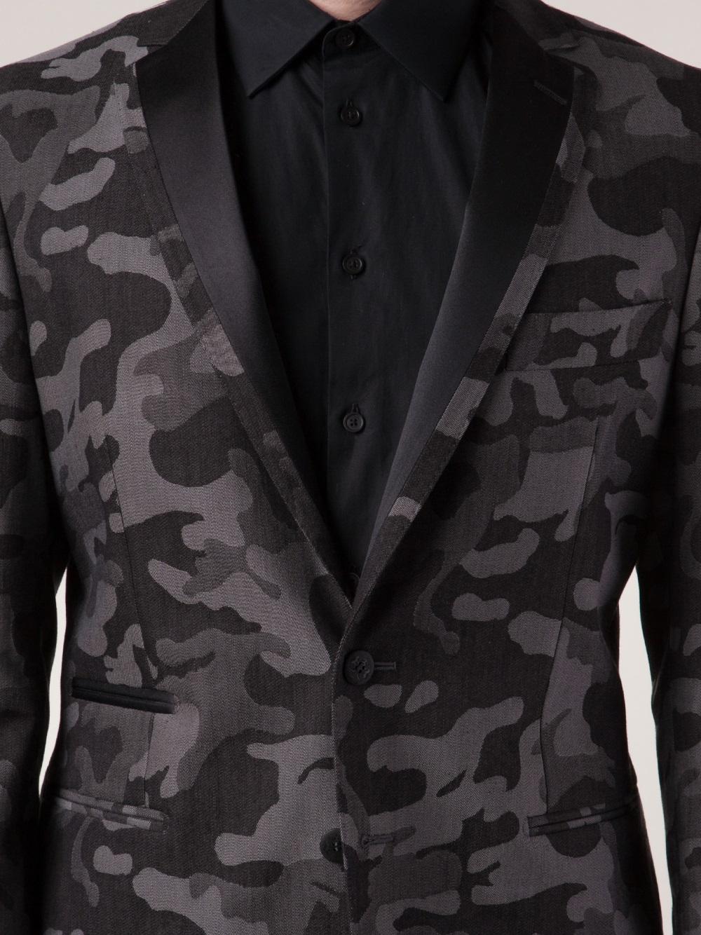 Tonello Camouflage Print Blazer In Gray For Men Lyst