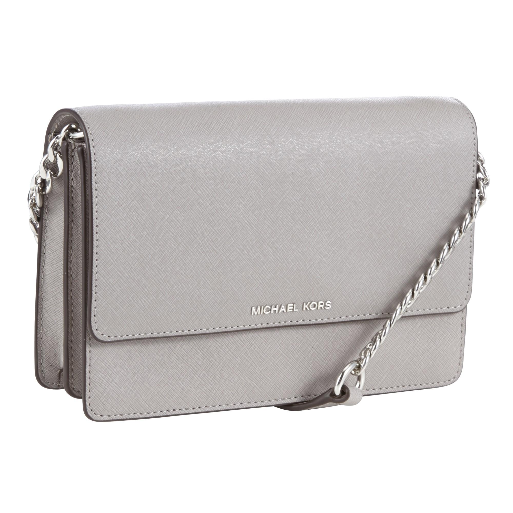 47564b781063 MICHAEL Michael Kors Daniela Small Leather Across Body Bag in Gray ...