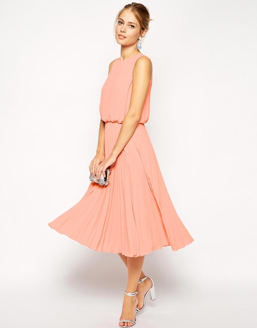 Asos midi skater dress with pleated skirt and blouson top for Midi length wedding dress