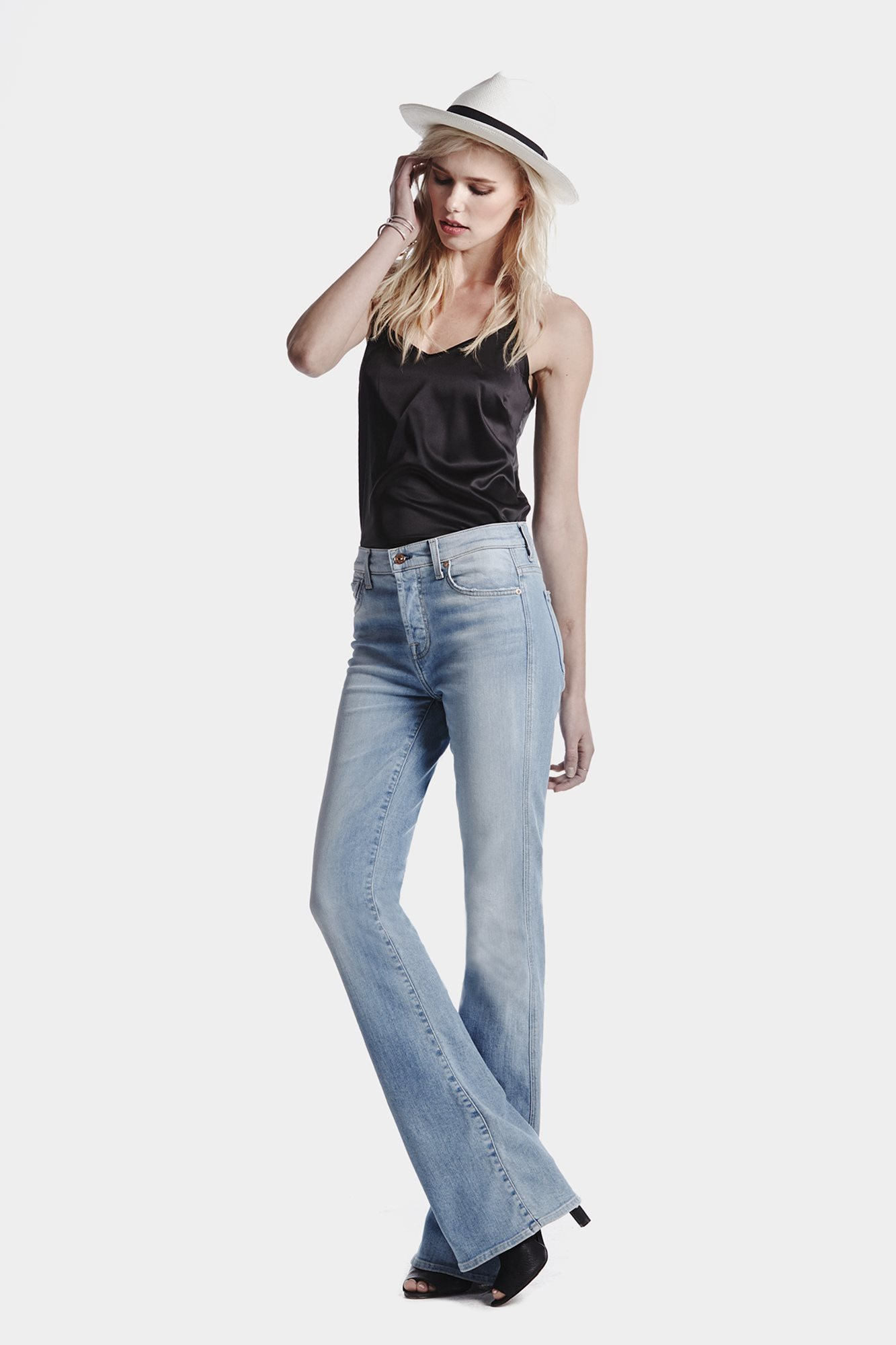 ad775b004f9b Lyst - 7 For All Mankind High Waist Vintage Bootcut In Light Sky in Blue