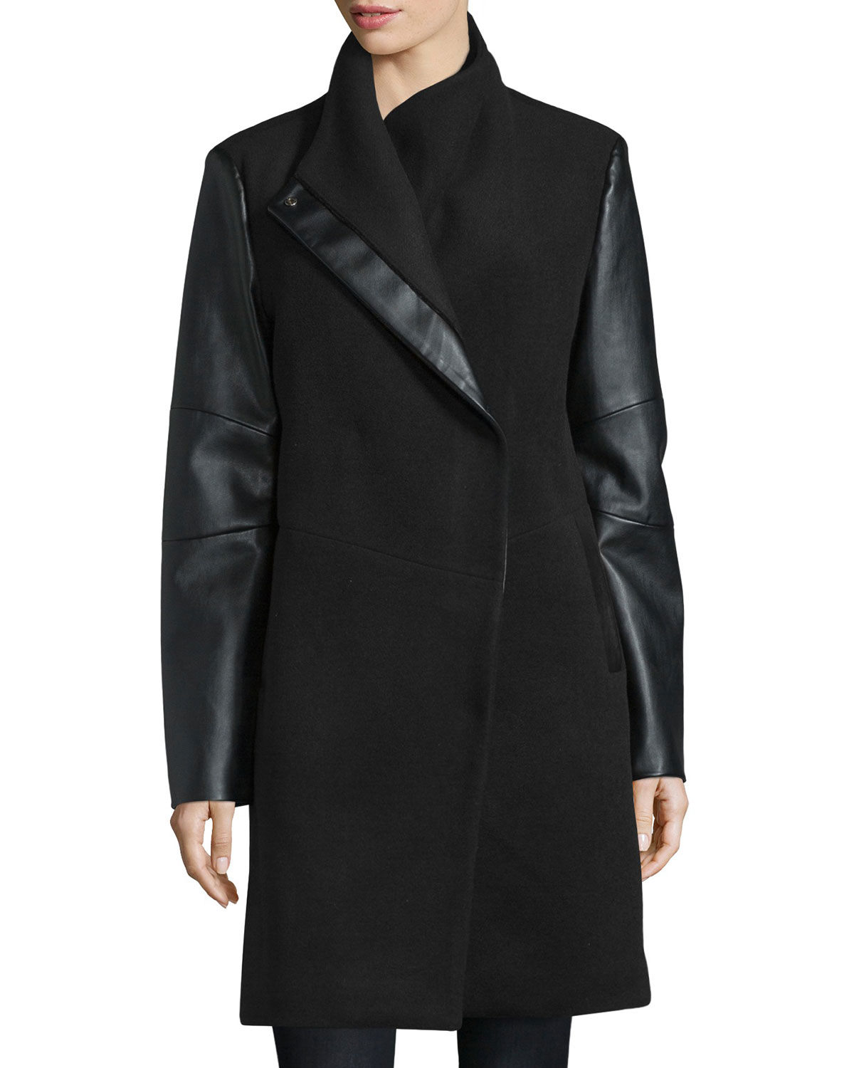 Lyst Vera Wang Wool Coat With Faux Leather Detail In Black