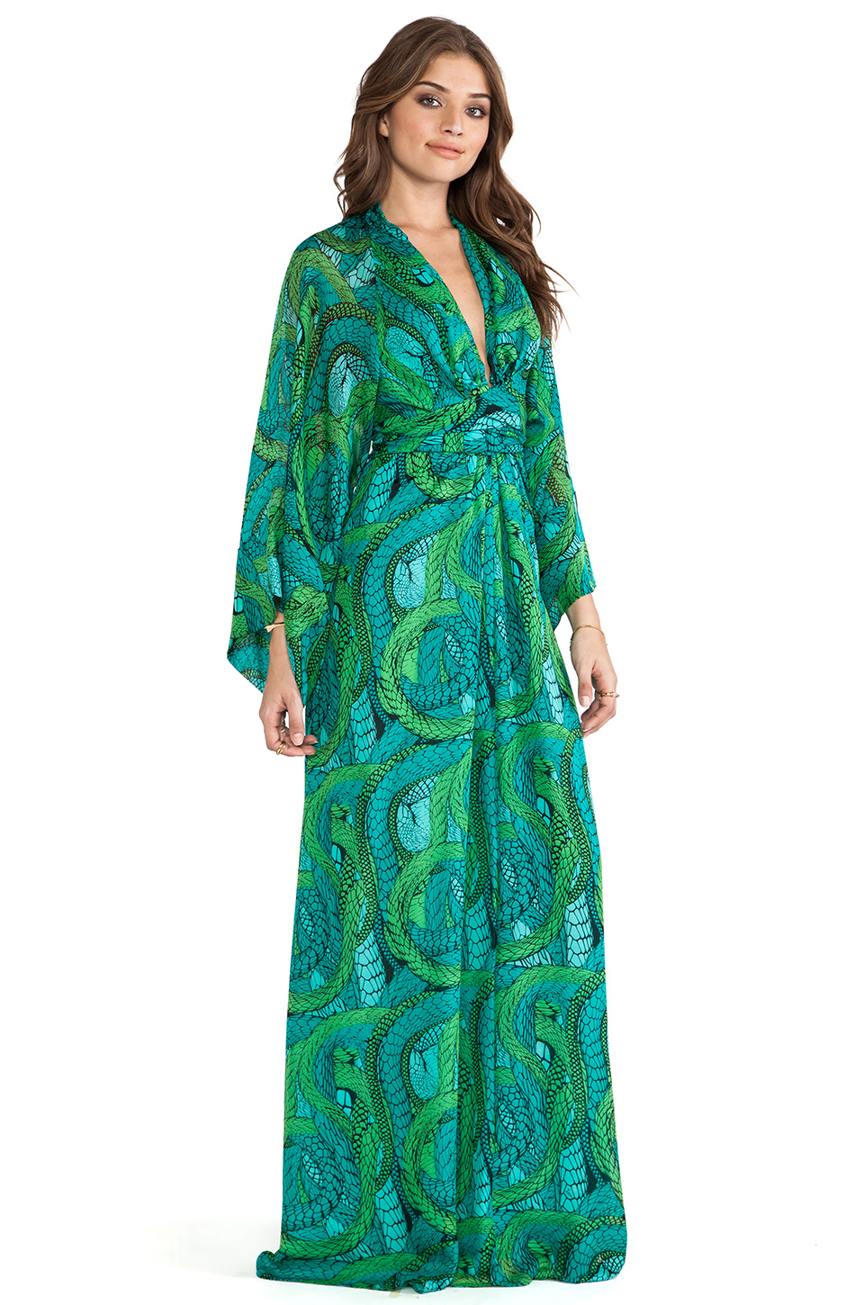 Issa Long Sleeve Printed Maxi Dress in Green | Lyst