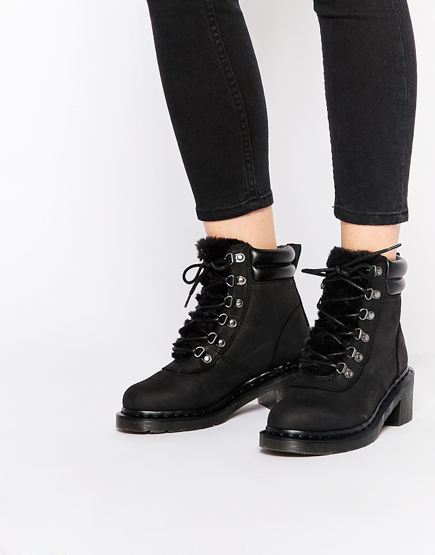 classic fit how to find best supplier Parade Sylvia Black Kitten Heel Hiker Boots
