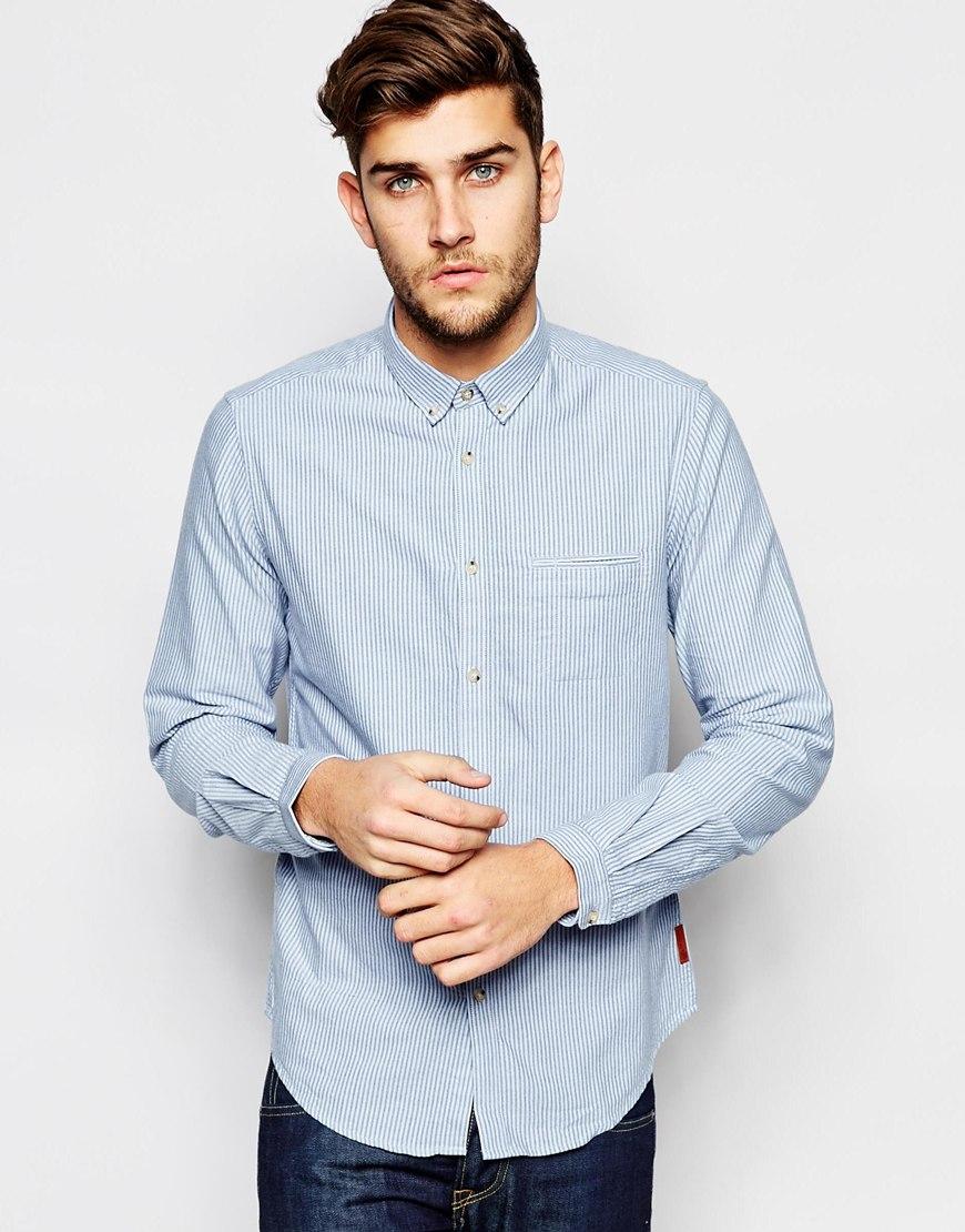 Lyst Ben Sherman Long Sleeve Checked Shirt In Blue For Men