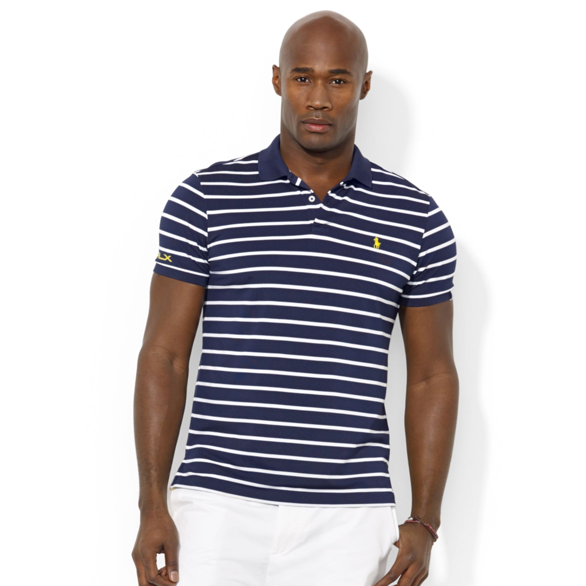Polo Ralph Lauren. Blue Polo Big and Tall Rlx Striped Stretchpiqu�� Polo Shirt