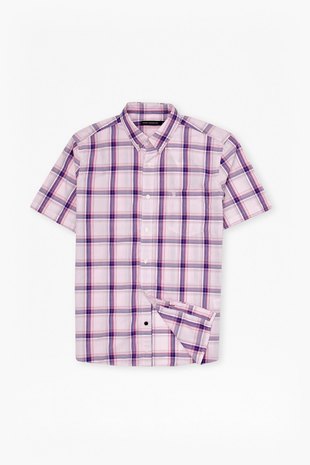 French Connection Candy Soft Checked Shirt In Pink For Men