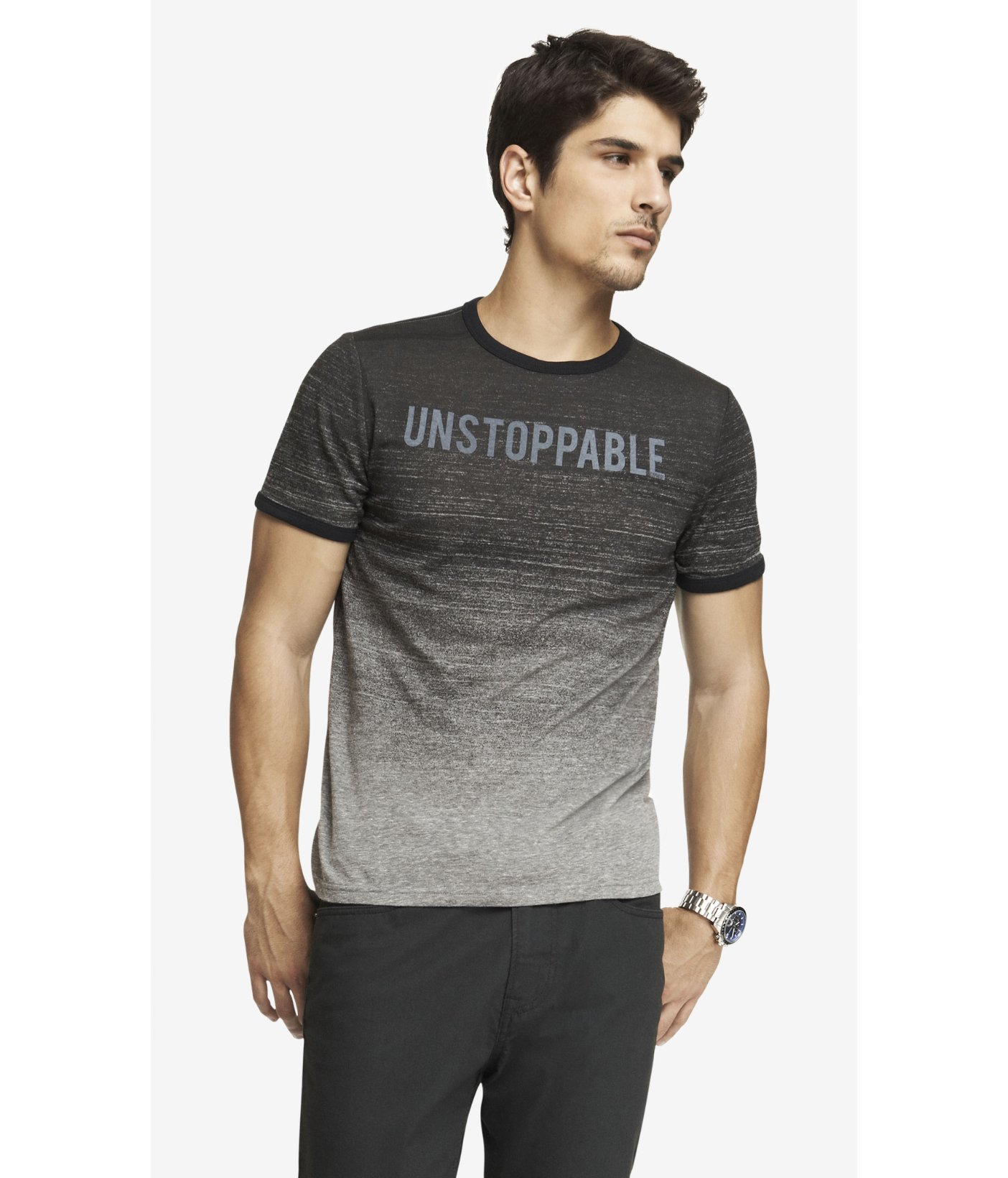 Men's Gray Space Dyed Ringer Graphic Tee - Unstoppable