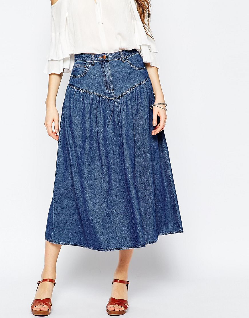 asos denim high waisted tiered true midi skirt in mid wash