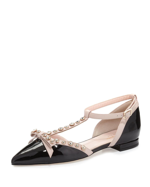 Kate spade new york becca jeweled ballet flats in black lyst for Kate spade new york flats