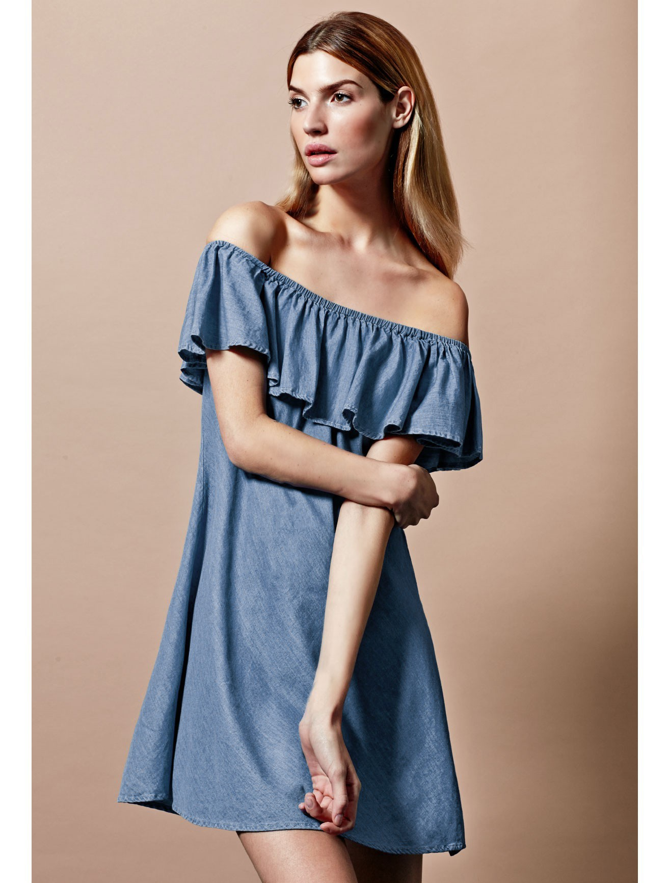 Turmec u00bb off shoulder denim dress for women