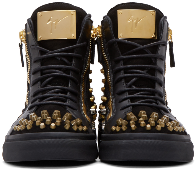 3388e4a0bac5 Lyst - Giuseppe Zanotti Black Studded London High-top Sneakers in Black for  Men