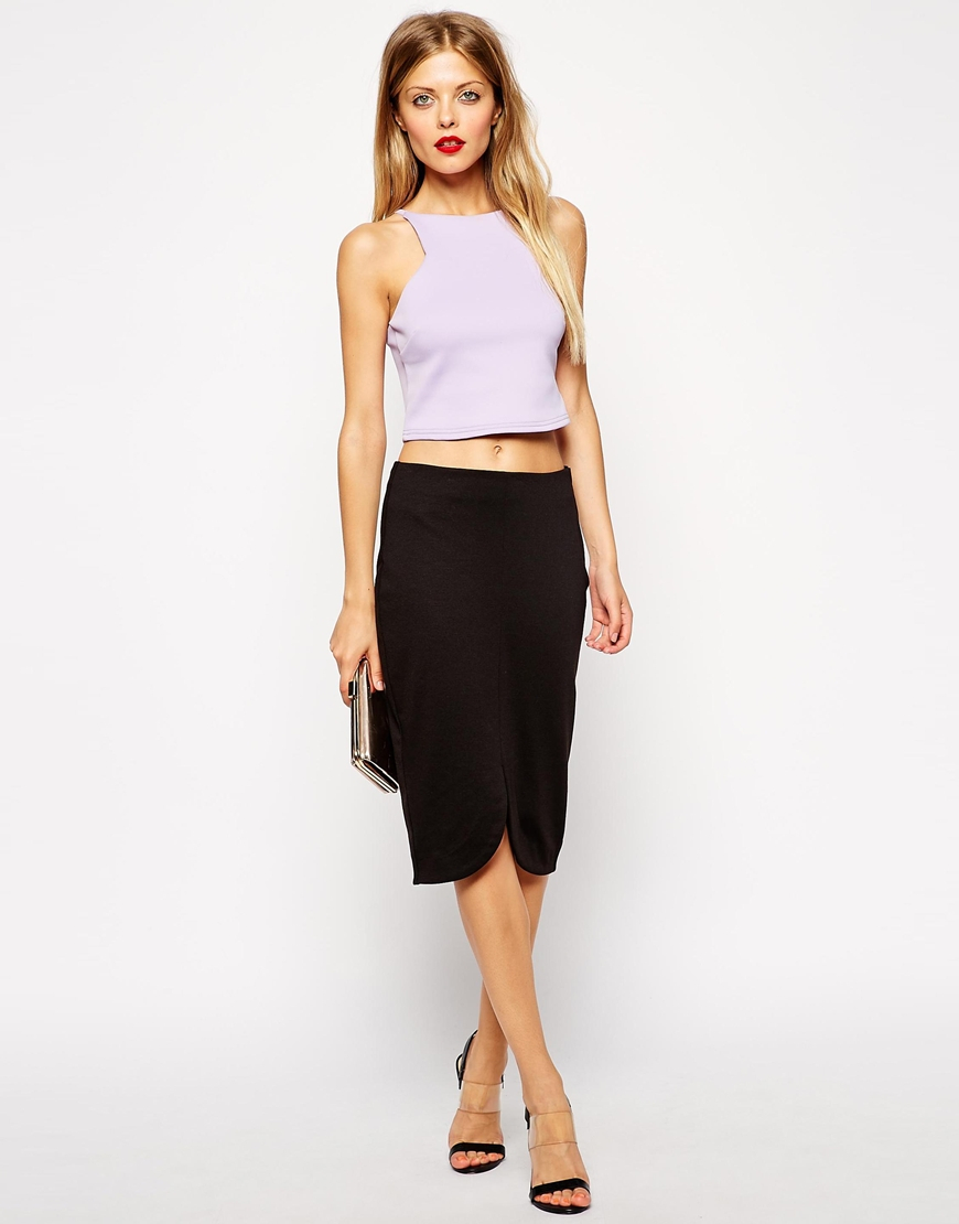 asos pencil skirt with curved centre front split in black