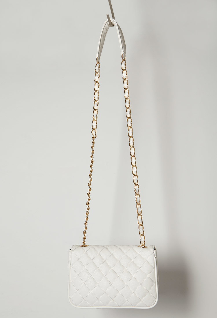 Lyst - Forever 21 Quilted Faux Leather Crossbody Bag in Natural 8214ea8efdf20
