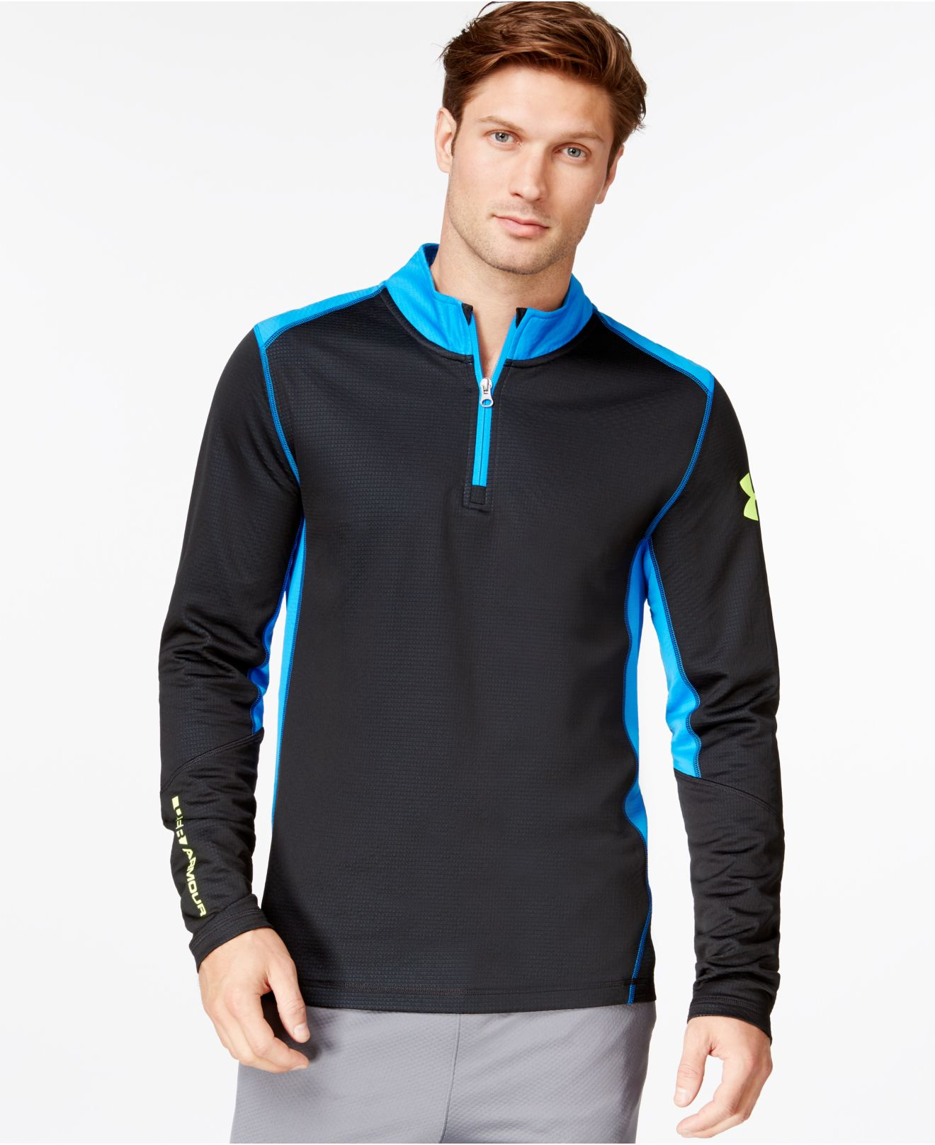 Under armour men 39 s coldgear infrared grid half zip long for Under armour half sleeve shirt