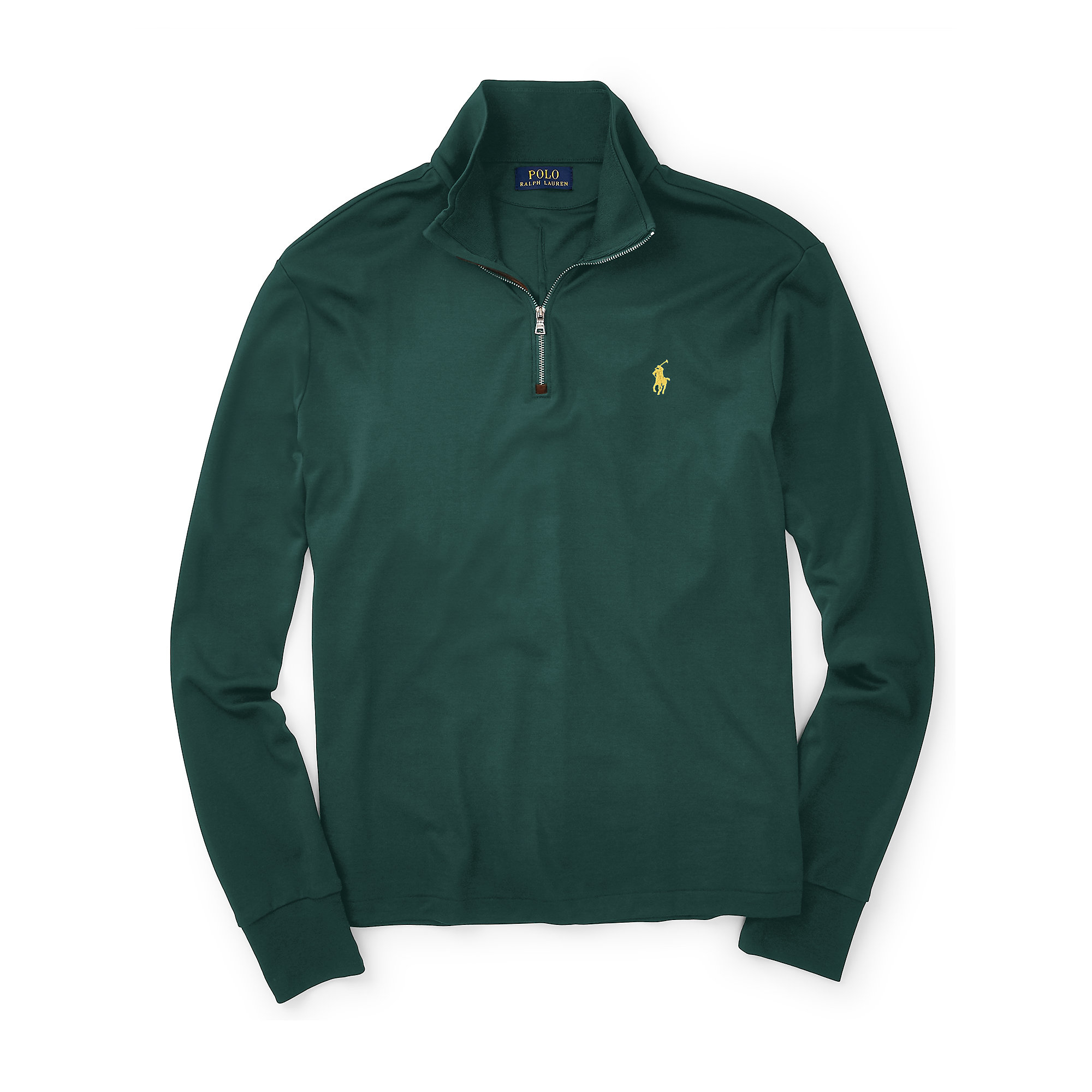polo ralph lauren suede trim cotton pullover in green for. Black Bedroom Furniture Sets. Home Design Ideas