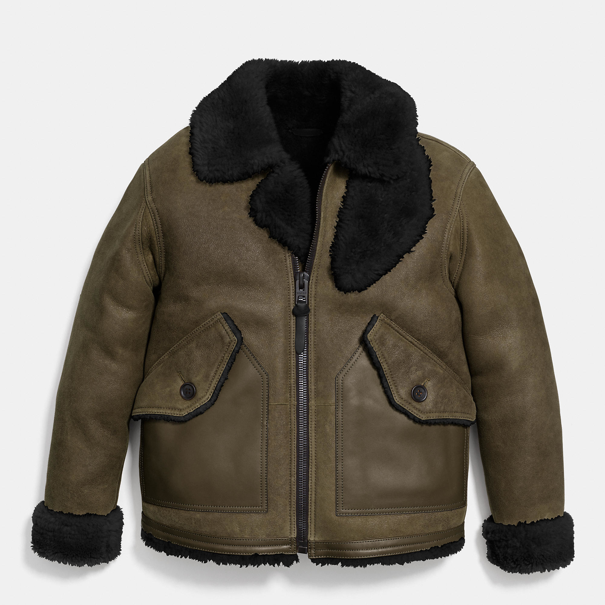 Lyst - Coach Shearling B3 Bomber Jacket in Green for Men