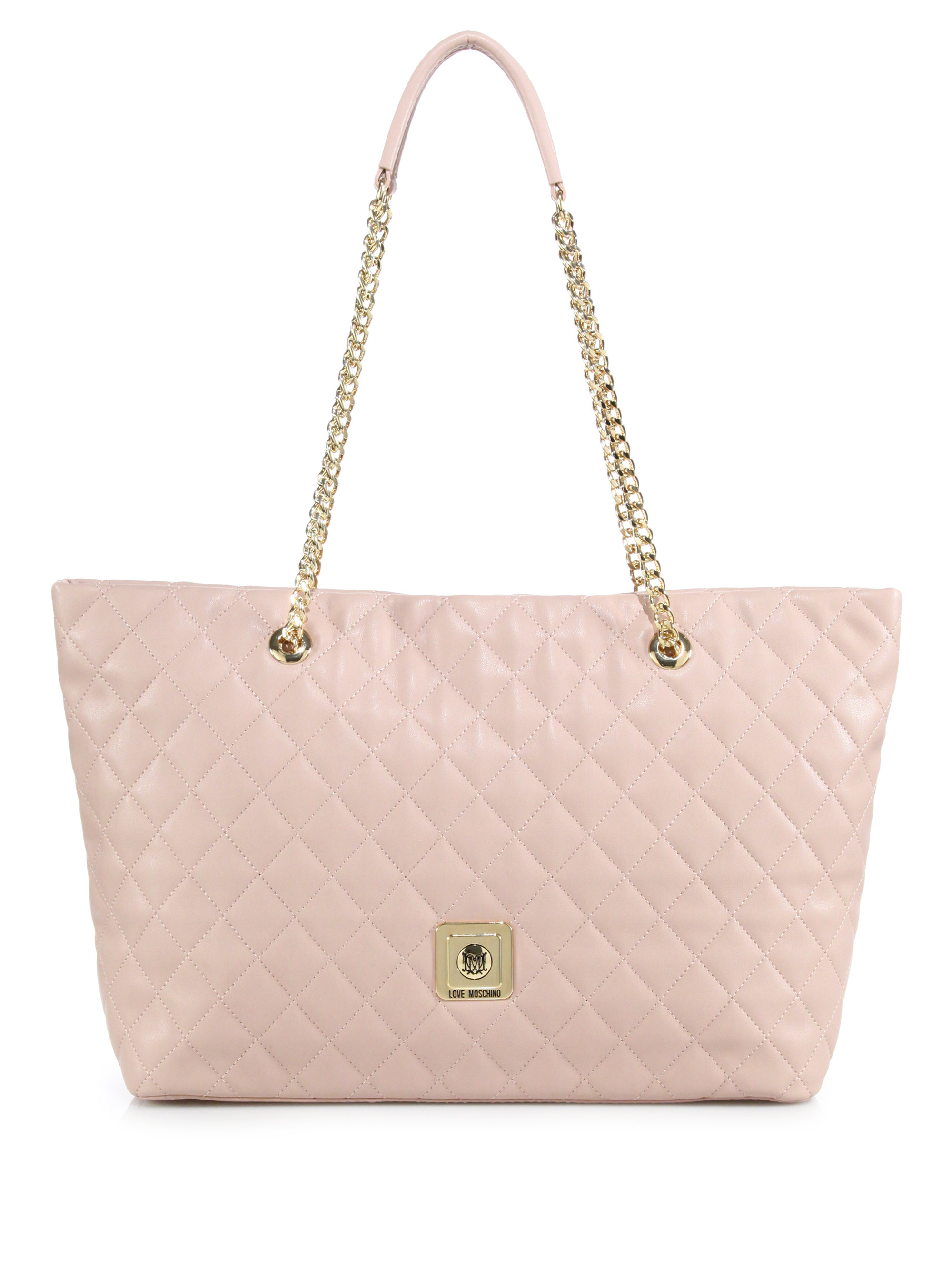 Love moschino Quilted Faux Leather Tote in Natural | Lyst : quilted faux leather tote - Adamdwight.com
