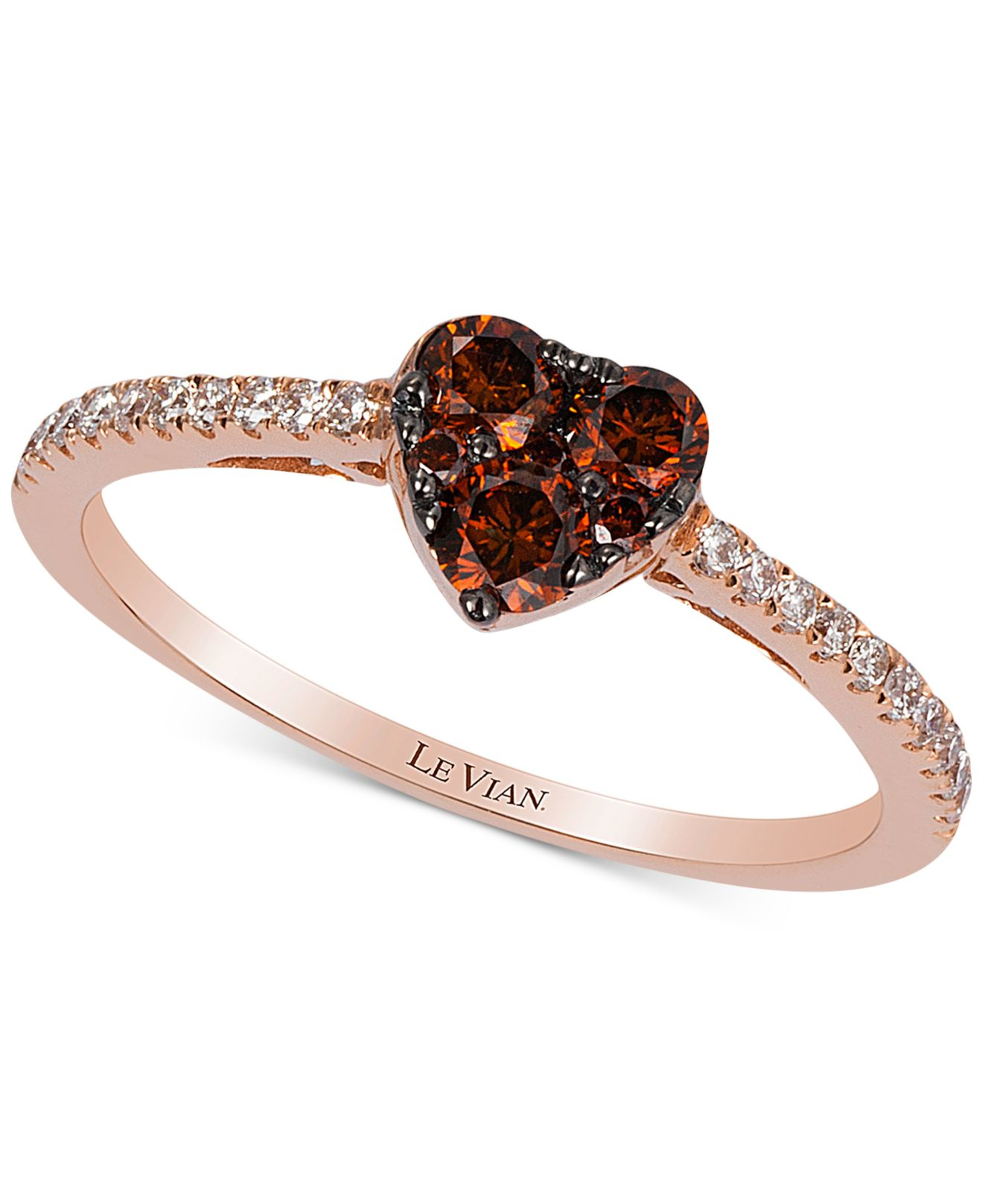 Le vian Exotics Chocolate And White Diamond Heart Ring 1 2ct t w