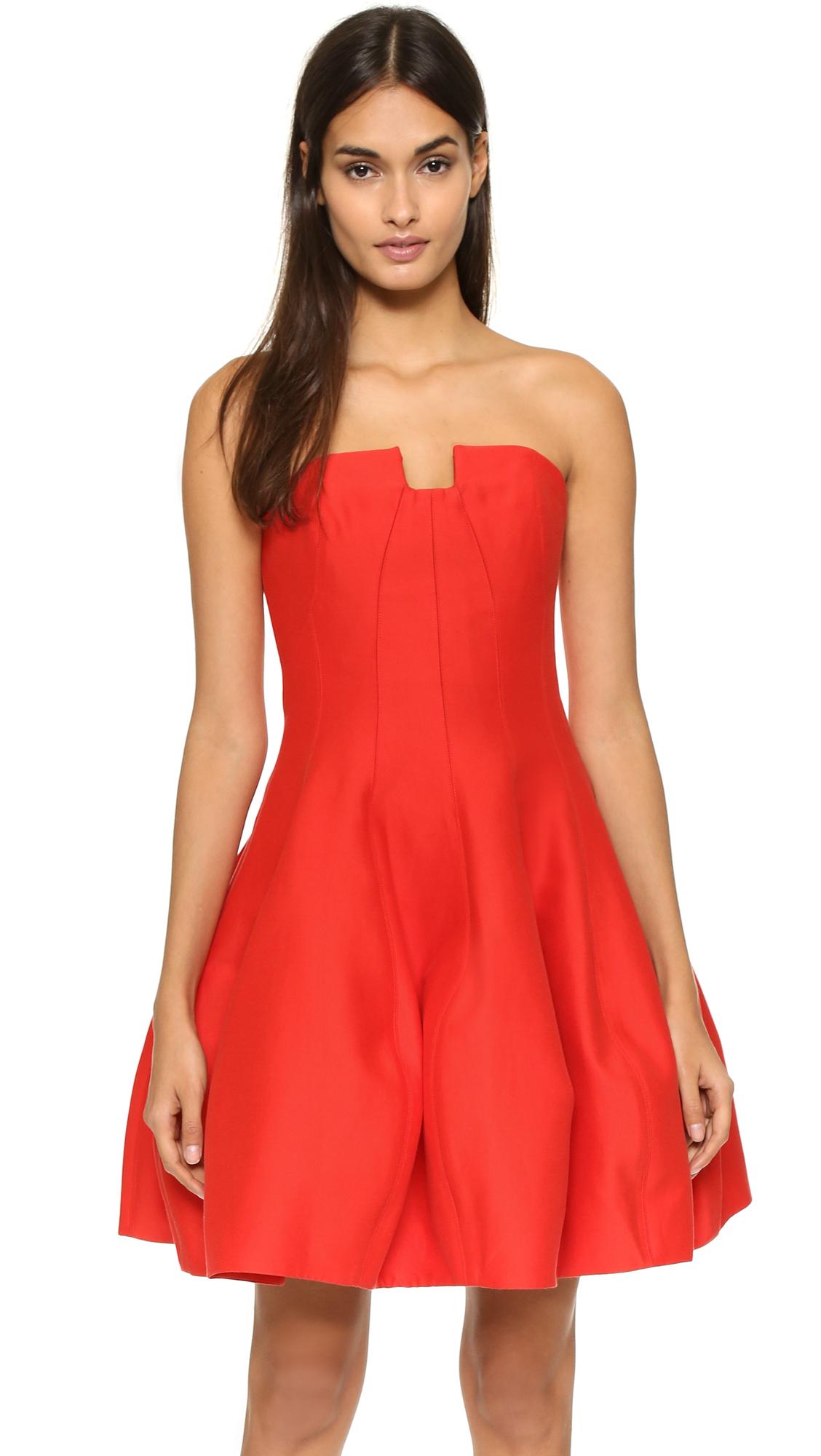 Lyst Halston Strapless Structured Dress In Red