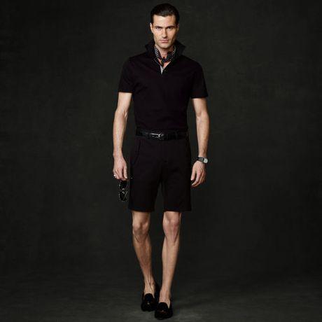 Ralph lauren purple label cotton piqu polo shirt in black for Black ralph lauren shirt purple horse
