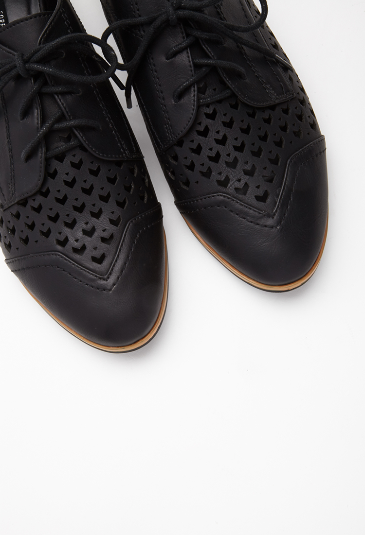 Forever 21 Faux Leather Chevron-cutout Oxfords In Black | Lyst