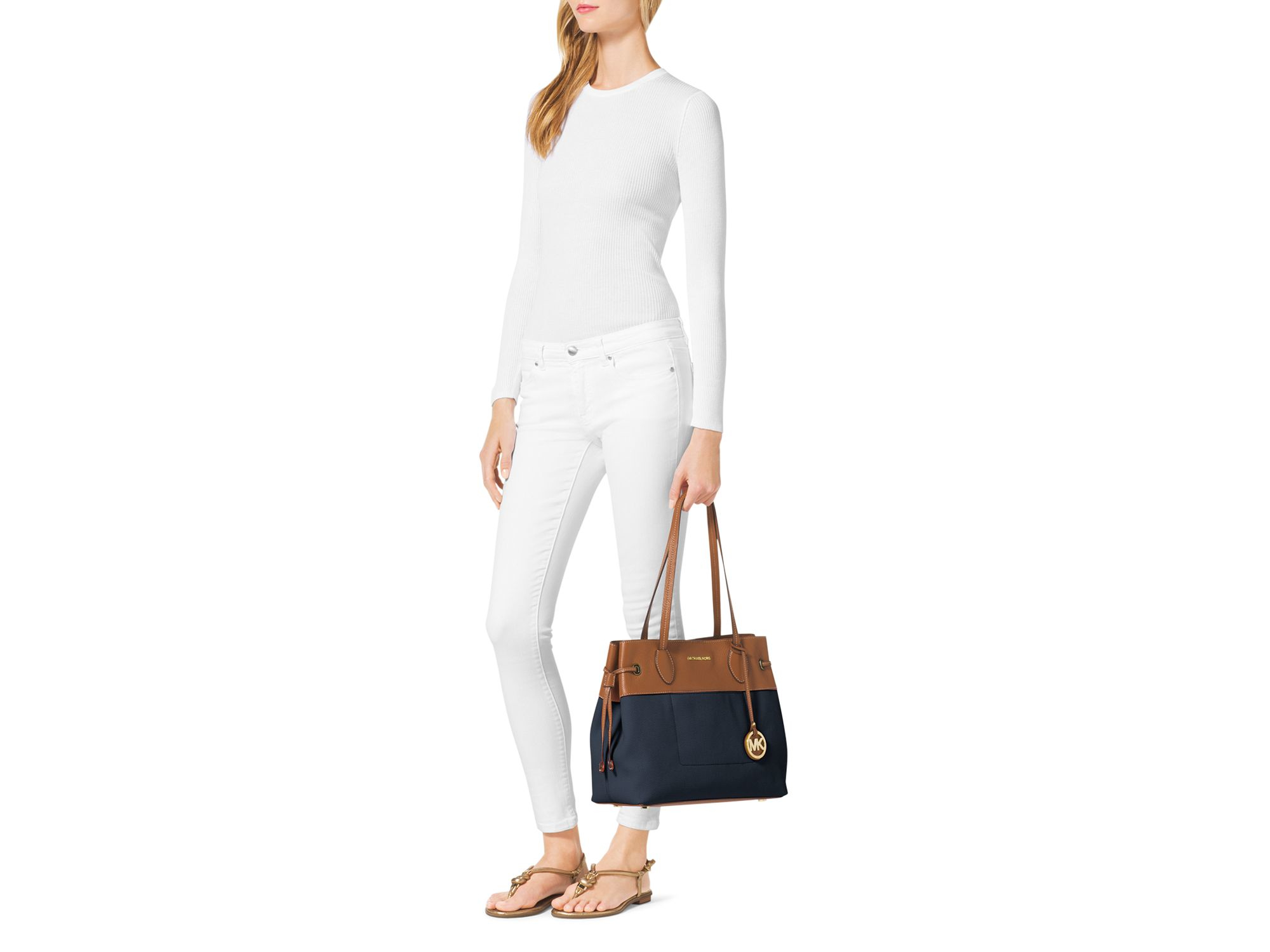 MICHAEL Michael Kors Large Marina North South Drawstring Canvas Tote in Navy (Blue)