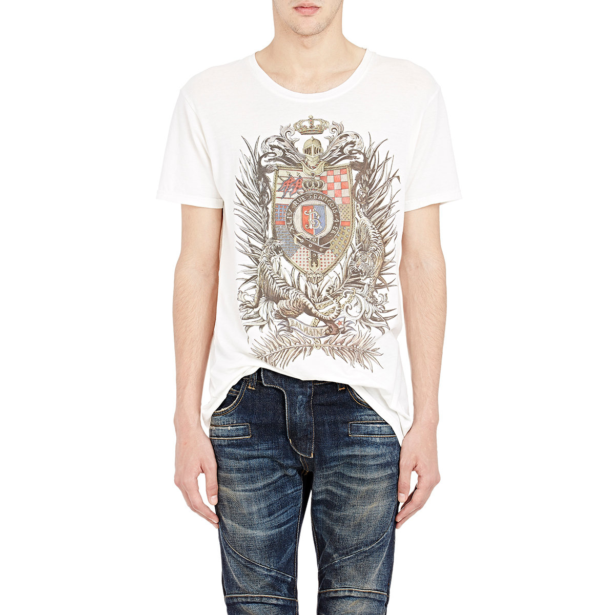 balmain men 39 s coat of arms t shirt in white for men lyst. Black Bedroom Furniture Sets. Home Design Ideas
