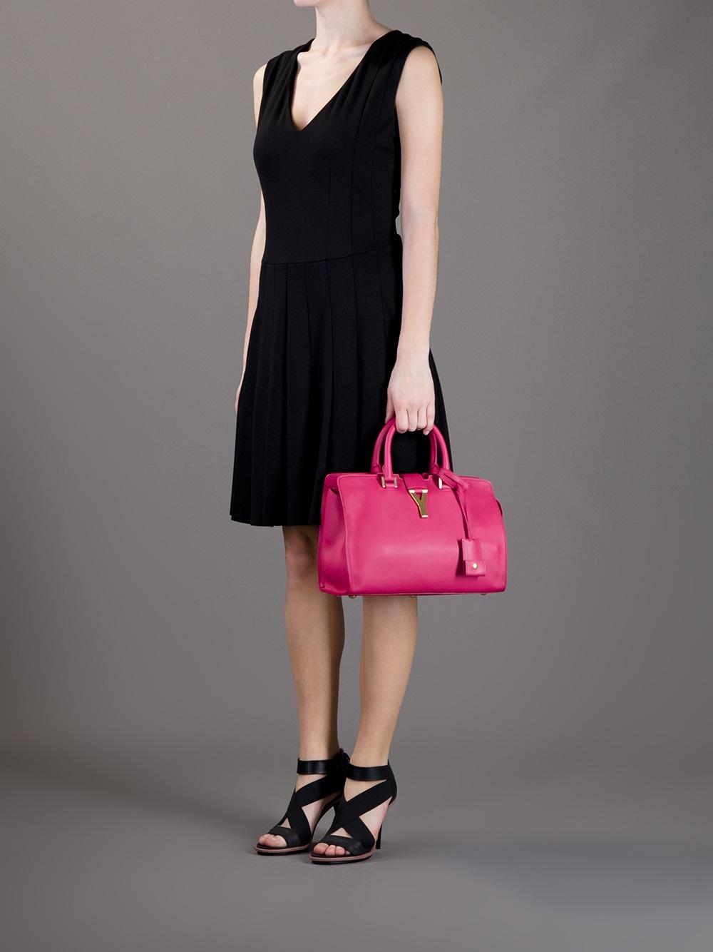 Saint laurent \u0026#39;classic Cabas Y\u0026#39; Small Bag in Pink (pink \u0026amp; purple ...