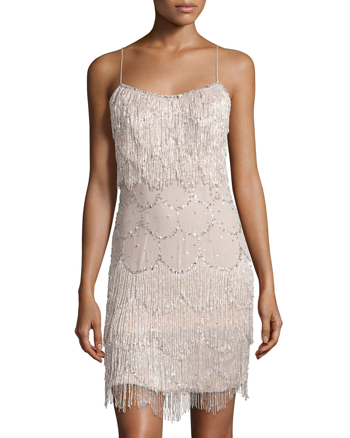 Lyst Mandalay Sequined Fringe Silk Cocktail Dress In Pink