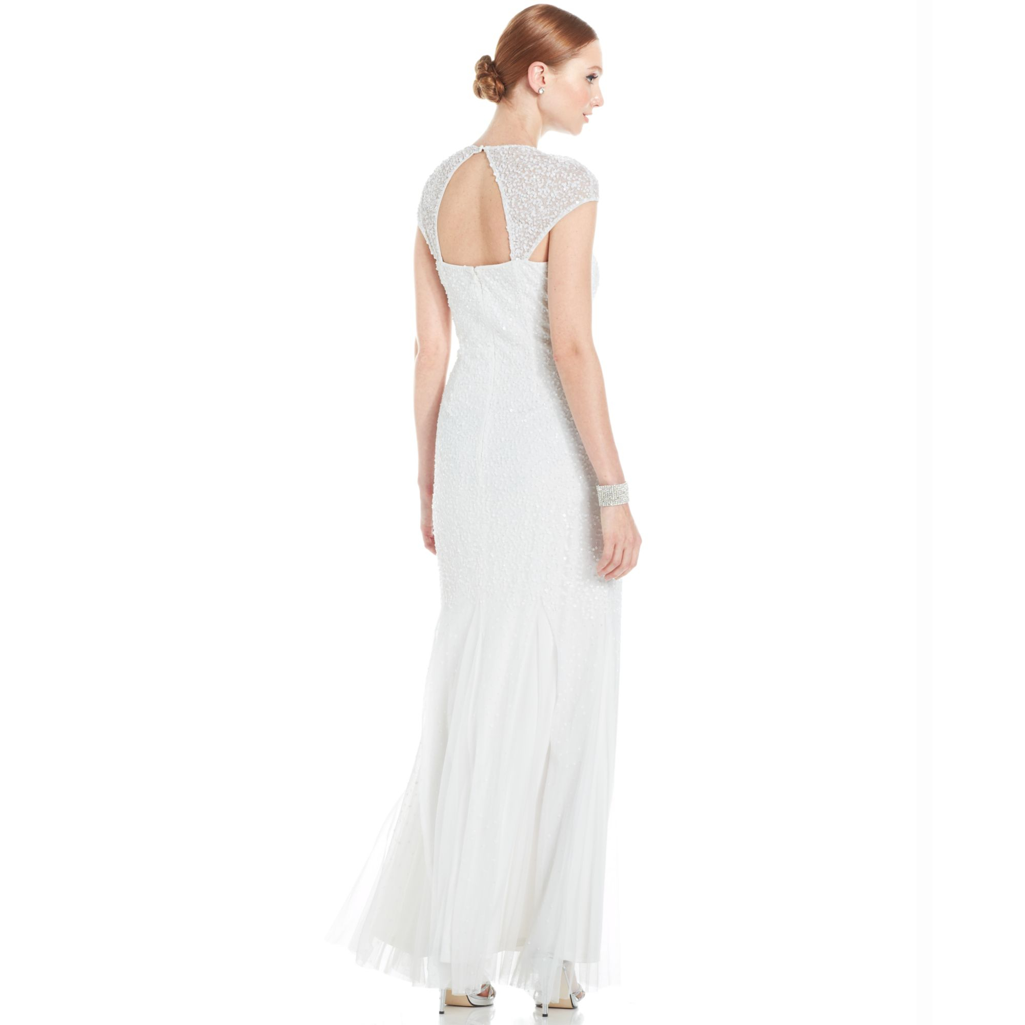Lyst - Adrianna Papell Capsleeve Embellished Illusion Gown in White