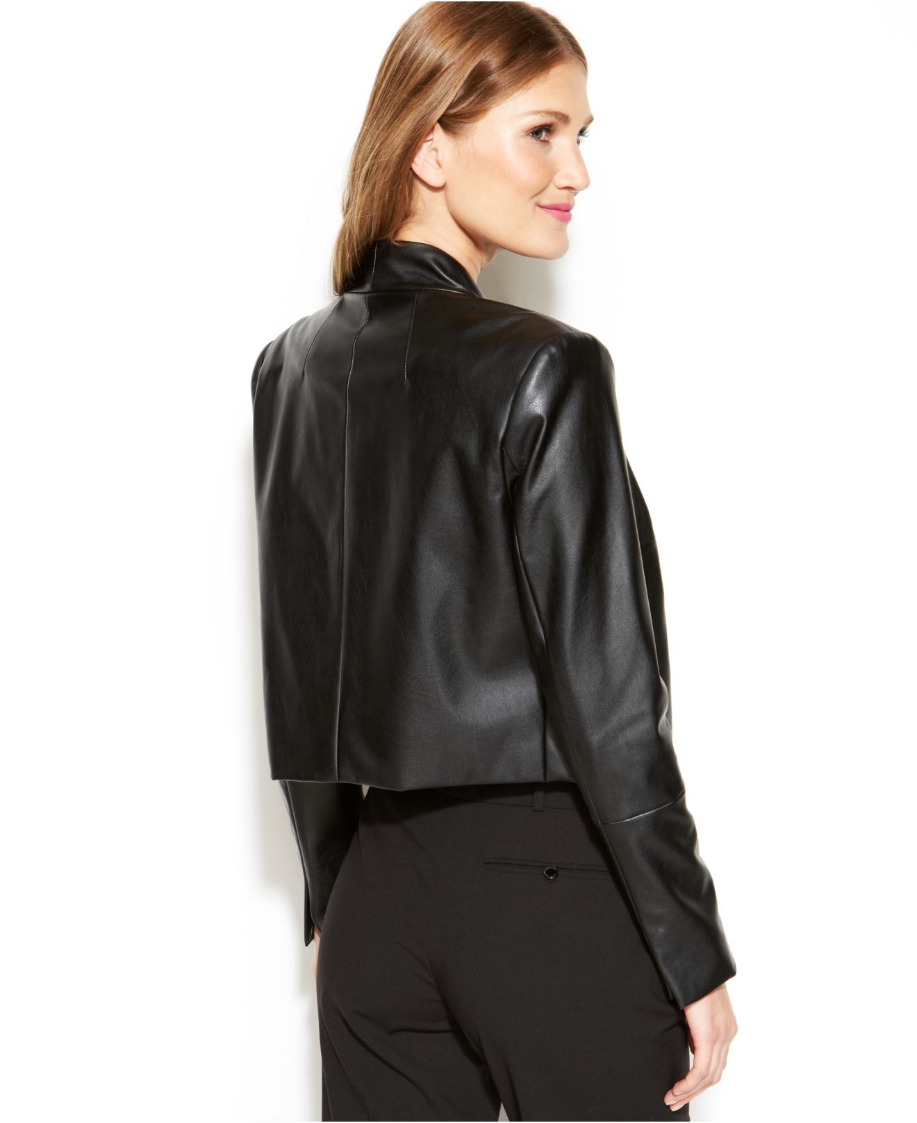Fake black leather jacket