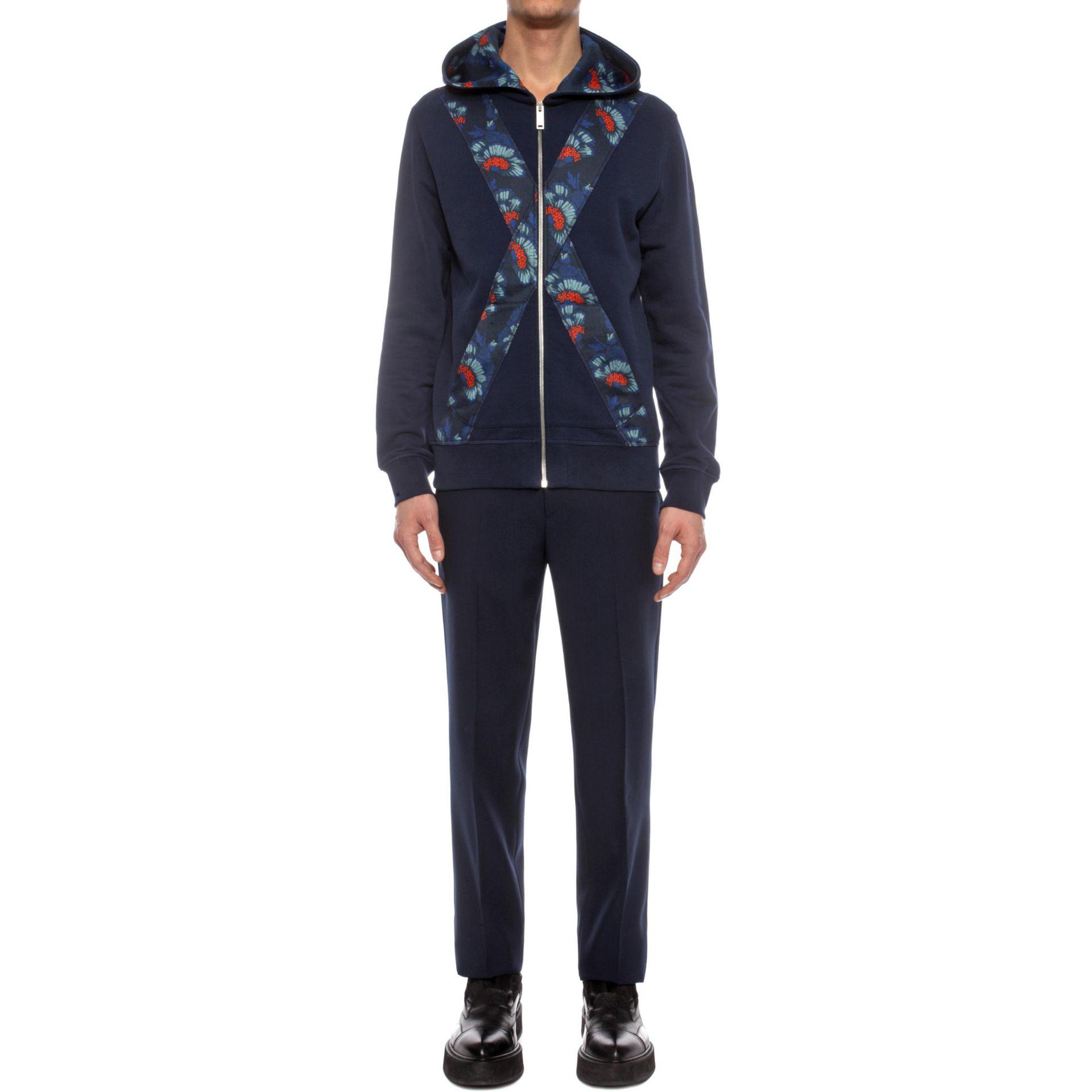 alexander mcqueen hibiscus flag hoodie in blue for men ivory lyst. Black Bedroom Furniture Sets. Home Design Ideas