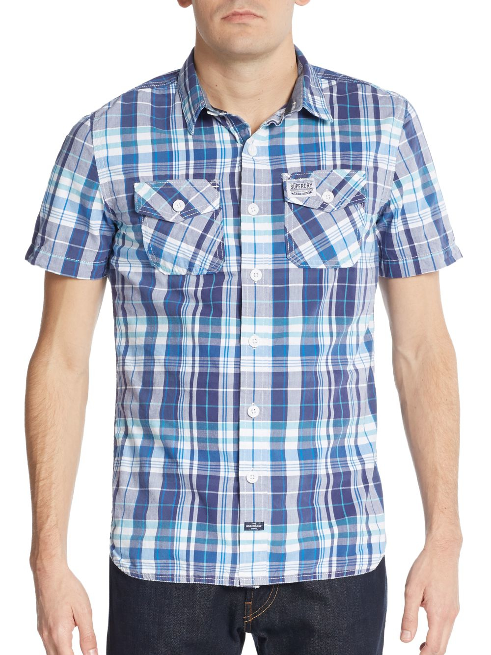 Lyst Superdry Slim Fit Cotton Button Down Shirt In Blue
