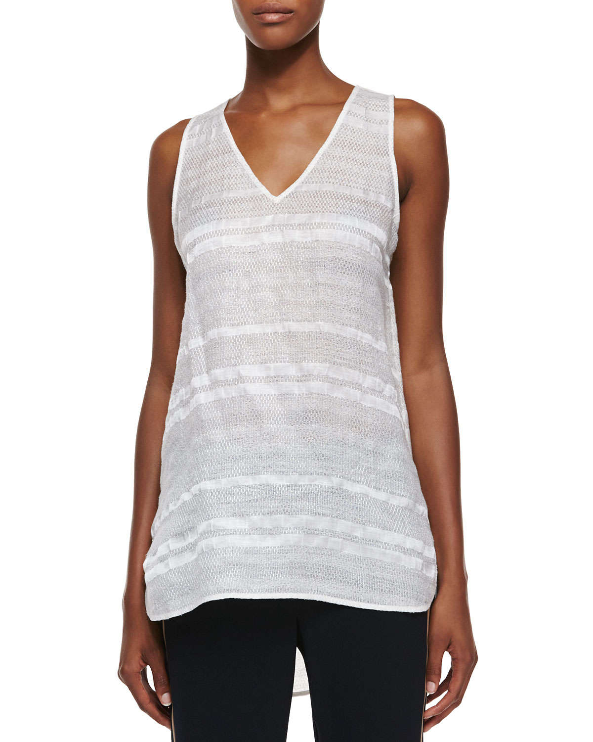 Vince textured linen v neck tee in white lyst for Vince tee shirts sale
