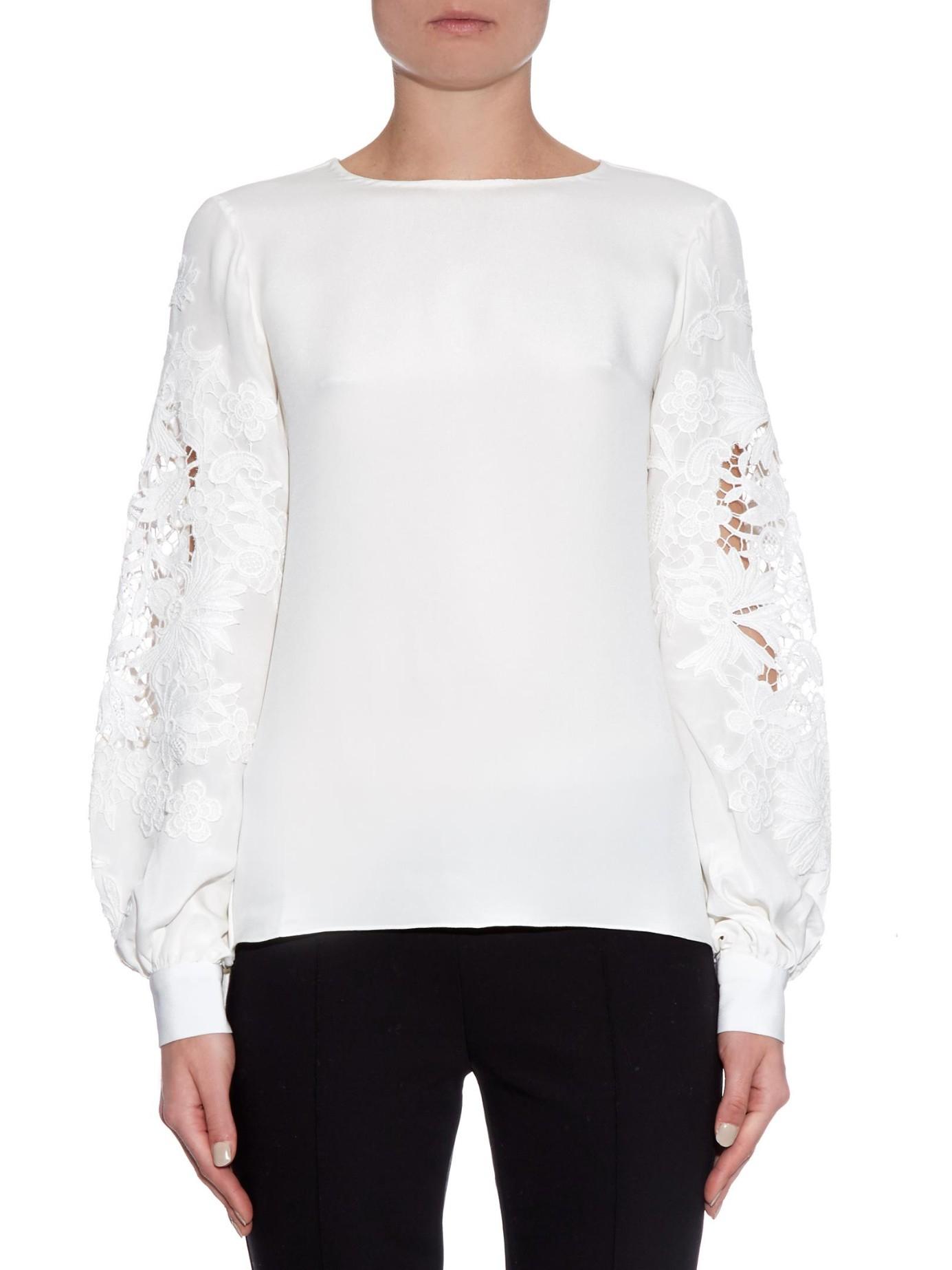 Oscar De La Renta Lace Insert Long Sleeved Silk Blouse In