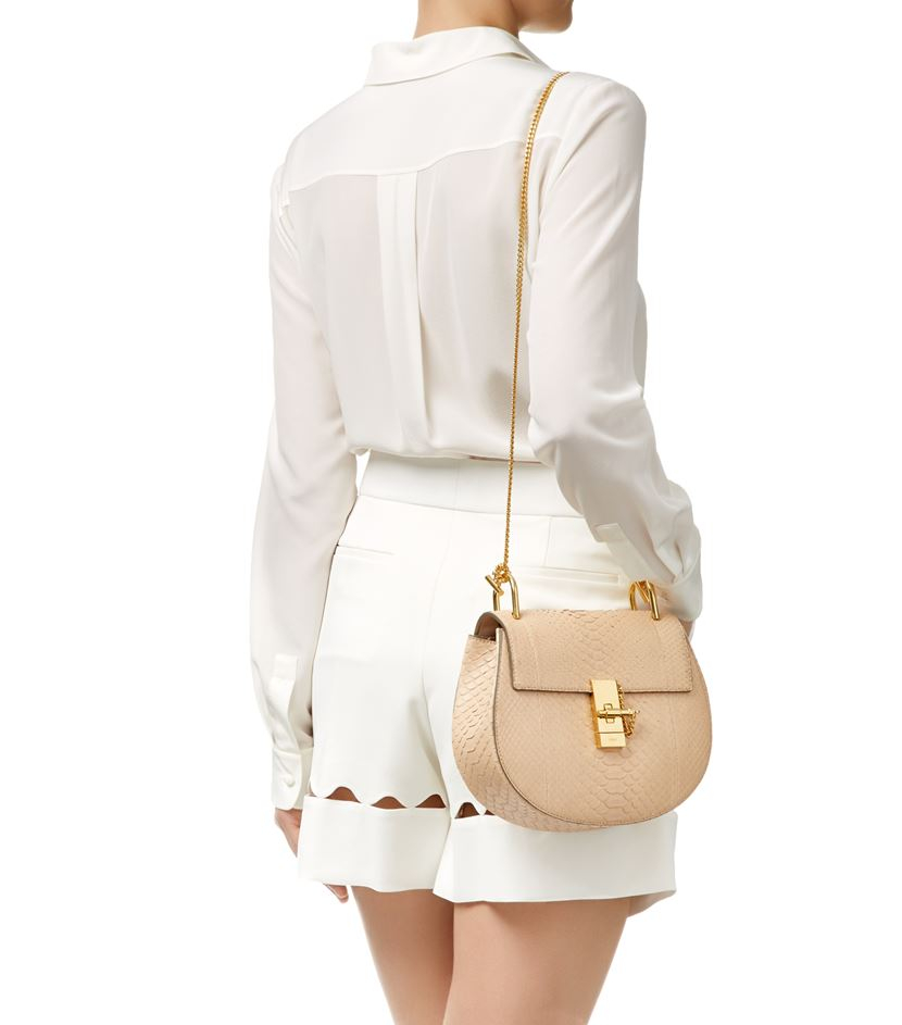 fake chloe bags - Chlo�� Drew Small Python Shoulder Bag in Beige | Lyst