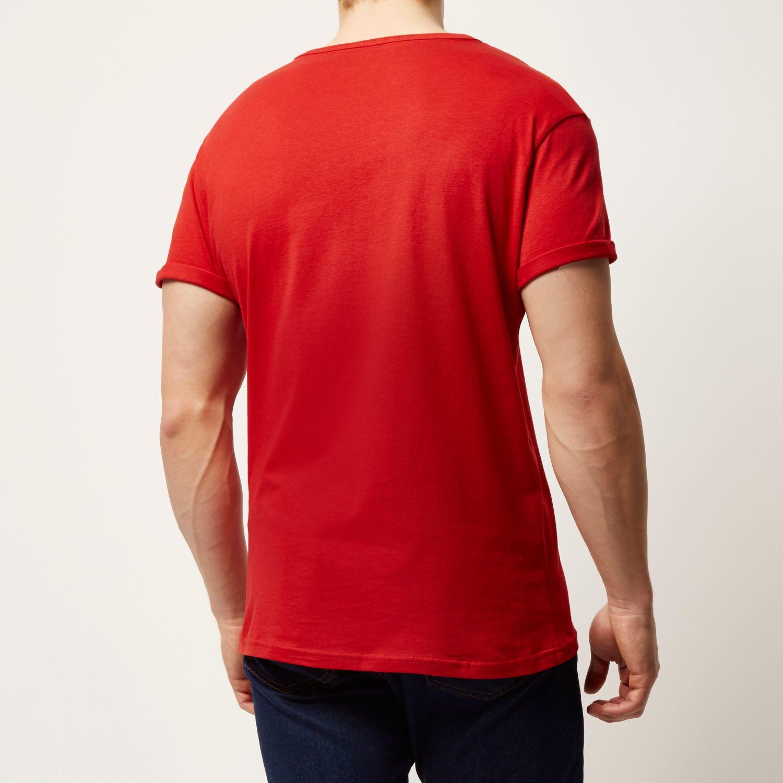 cbdfe962b River Island Red Plain Chest Pocket T-shirt in Red for Men - Lyst