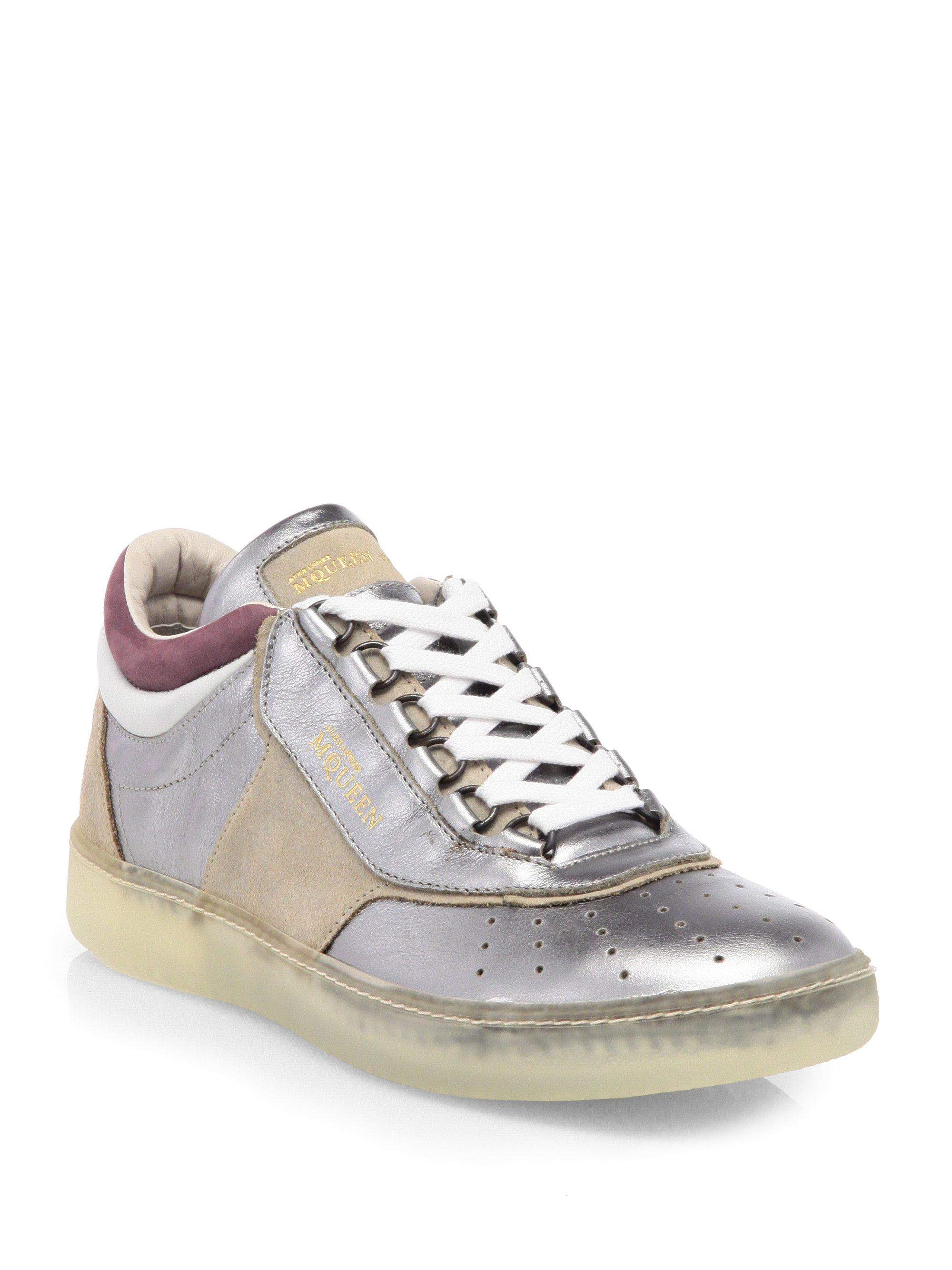 Lyst - Alexander McQueen X Puma Joust Metallic Leather Suede Laceup ... 1cb5e1a7c