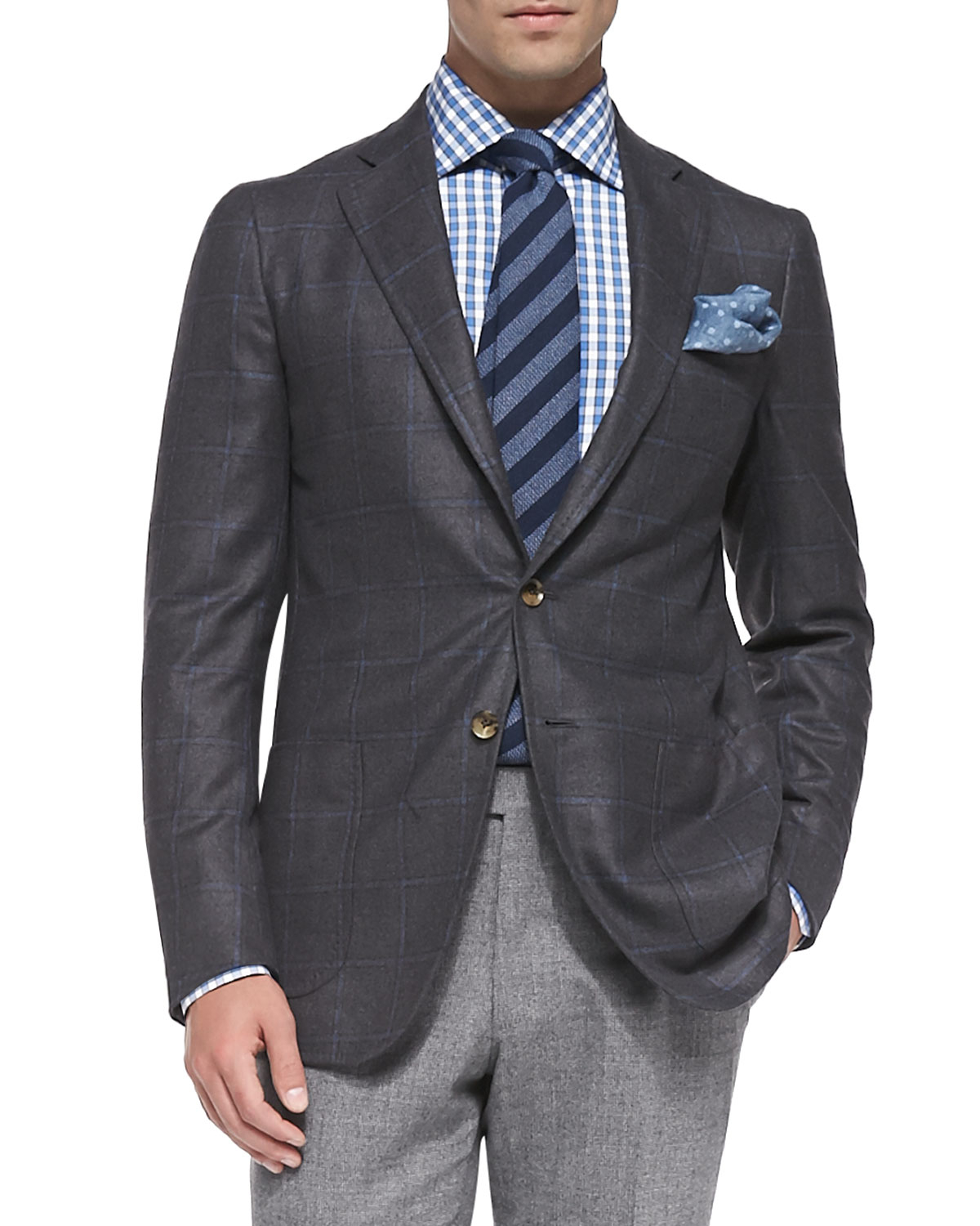 Isaia Windowpane Two-button Jacket in Gray for Men