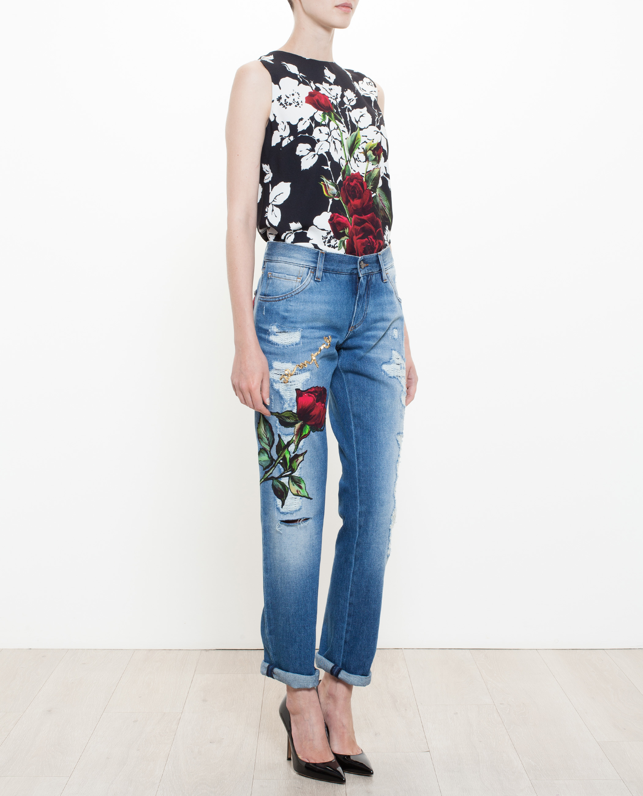 Dolce gabbana roses embroidered jeans in blue lyst