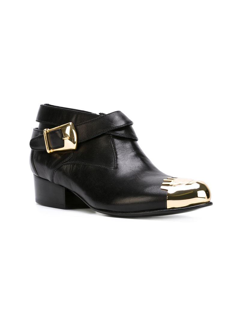 Chiara Ferragni Metal Toe Cap Ankle Boots in Black