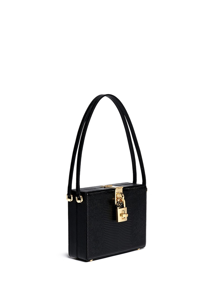 Lyst - Dolce   Gabbana  mama Dolce  Stamped Leather Box Bag in Black 7f45494ae871b